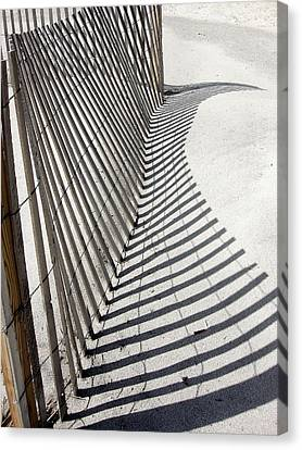 Beach Fence With Shadow Canvas Print