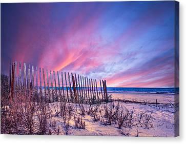 Beach Fences Canvas Print by Debra and Dave Vanderlaan