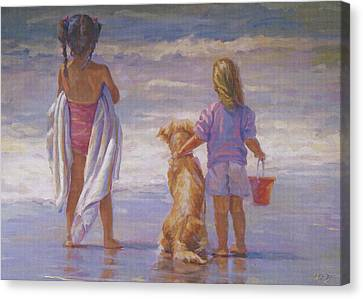 Golden Lab Canvas Print - Beach Friends by Lucelle Raad