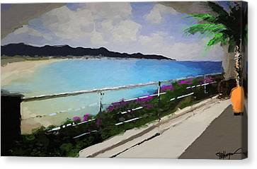 Palm Trees Canvas Print - Beach Front View by Anthony Fishburne