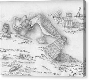 Beach Fun Canvas Print by Carolann Van de Ligt