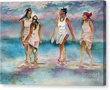 Canvas Print featuring the painting Beach Fun by Mary Haley-Rocks