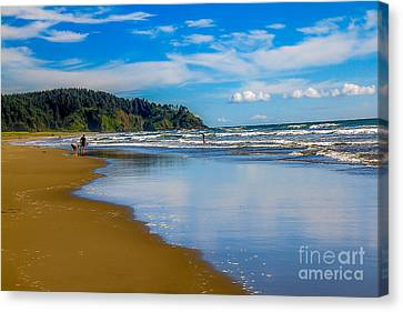Haybale Canvas Print - Beach Fun  by Robert Bales