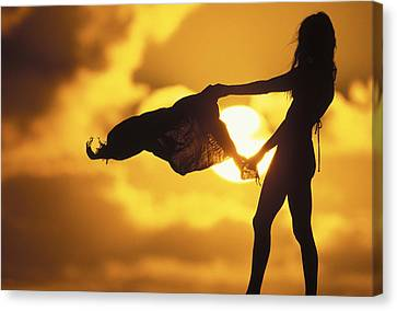 Tropical Sunset Canvas Print - Beach Girl by Sean Davey