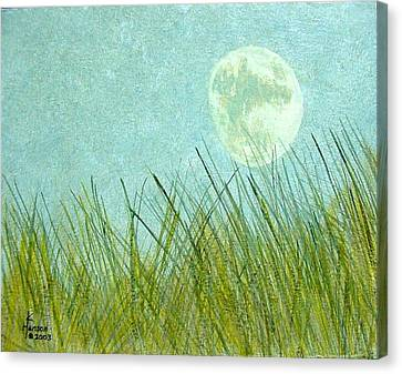 Canvas Print featuring the mixed media Beach Grass With Moon by Kenny Henson