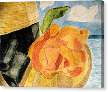 Beach Hat Canvas Print by Angela Davies
