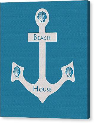 Beach House Anchor Sign Canvas Print by Kate Farrant