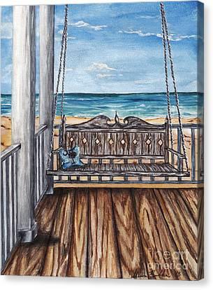 Beach House Patio Canvas Print by Sheena Pape