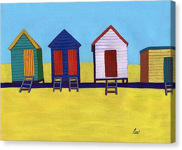 Beach Huts Canvas Print by Bav Patel