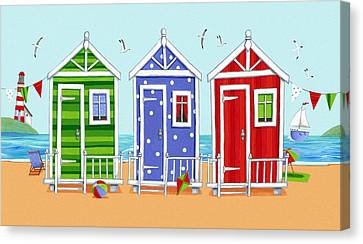 Beach Huts Canvas Print by Peter Adderley