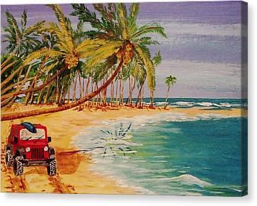 Beach Jeepin' Canvas Print by Mike Caitham