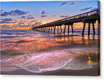 Beach Lace Canvas Print by Debra and Dave Vanderlaan