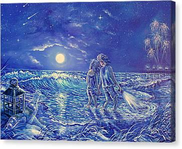 Beach Lites Canvas Print by Gail Butler