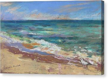 Canvas Print featuring the painting Beach Meditation by Linda Novick