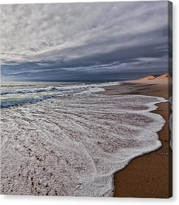 Beach Morning Square Canvas Print by Bill Wakeley