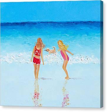 Beach Painting Beach Play Canvas Print by Jan Matson