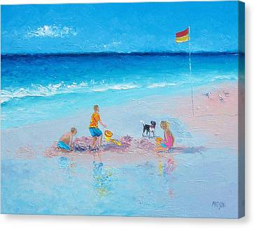 Beach Painting Building Sandcastles By Jan Matson Canvas Print