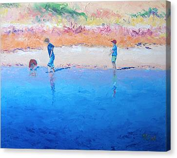 Saturday Afternoon At The Beach Canvas Print by Jan Matson