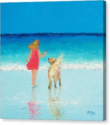 Artwork On Canvas Print - Beach Painting 'sunkissed Hair'  by Jan Matson
