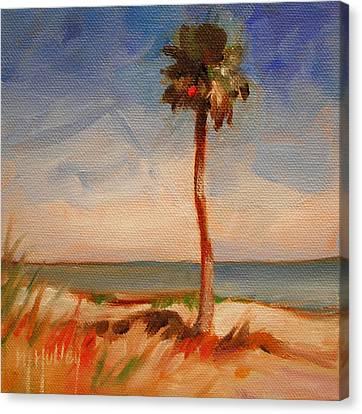 Beach Palm Tree Canvas Print by Mary Hubley
