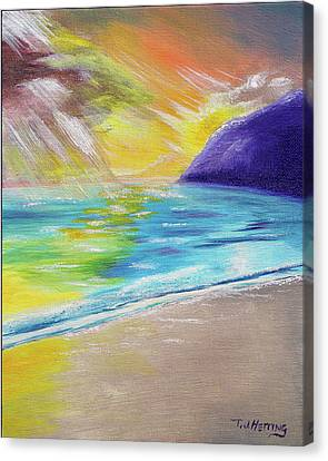 Canvas Print featuring the painting Beach Reflection by Thomas J Herring