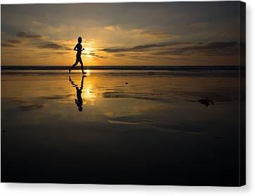 Beach Runner Canvas Print