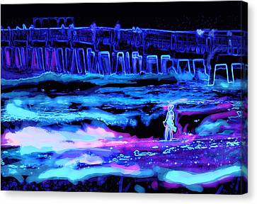 Canvas Print featuring the painting Beach Scene At Night by David Mckinney