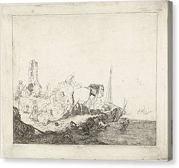 Beach Scenes Canvas Print - Beach Scene With Man And Dog In Water, Joannes Bemme by Joannes Bemme
