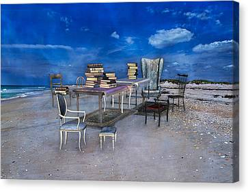 Beach Chair Canvas Print - Beach Scholar  by Betsy Knapp