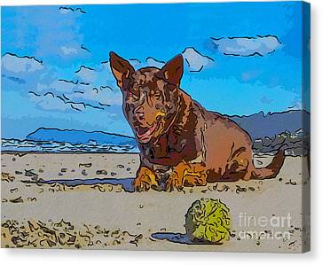 Buy Dog Art Canvas Print - Beach Scout Abstract Dog Art By Omaste Witkowski by Omaste Witkowski