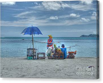 Canvas Print featuring the photograph Beach Sellers by Michelle Meenawong