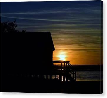 Beach Shack Silhouette Canvas Print by William Bartholomew
