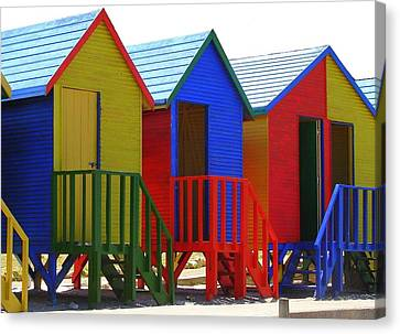Canvas Print featuring the photograph Beach Shacks by Ramona Johnston