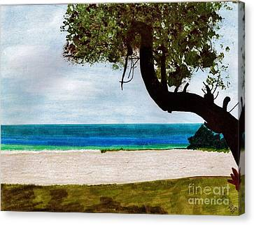 Canvas Print featuring the drawing Beach Side by D Hackett