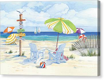 Beach Scenes Canvas Print - Beach Signs Adirondack Chairs by Paul Brent
