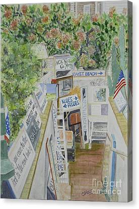 Canvas Print featuring the painting Beach Signs by Carol Flagg