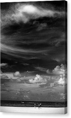 Canvas Print featuring the photograph Beach Sky People by Christopher McKenzie