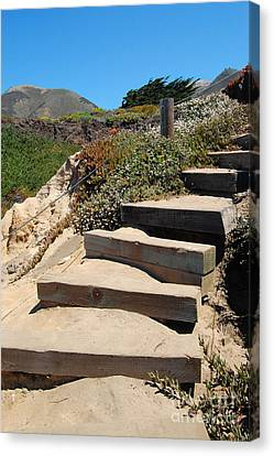 Canvas Print featuring the photograph Beach Stairs Big Sur by Debra Thompson