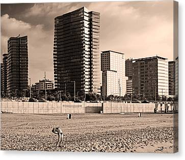 beach, Barcelona Canvas Print