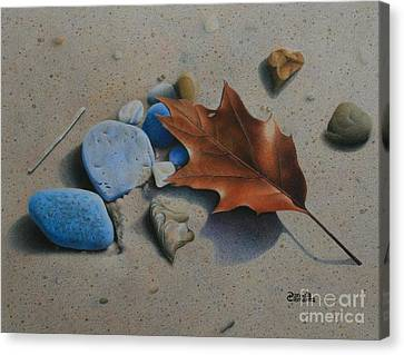 Canvas Print featuring the painting Beach Still Life II by Pamela Clements