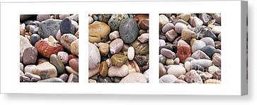 Beach Stones Triptych Canvas Print by Stelios Kleanthous