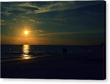 Beach Sunset Afternoon Walk Canvas Print by Patricia Awapara