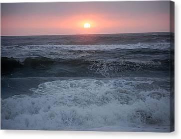 Beach Sunset Canvas Print by Holly Blunkall