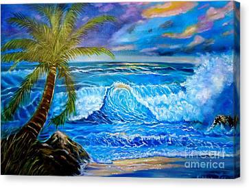 Canvas Print featuring the painting Beach Sunset In Hawaii by Jenny Lee