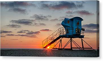 Beach Tower Wide Screen Canvas Print by Peter Tellone