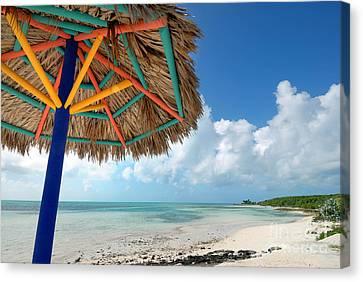 Beach Umbrella At Coco Cay Canvas Print by Amy Cicconi