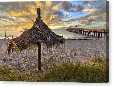Beach Umbrella Canvas Print by Debra and Dave Vanderlaan
