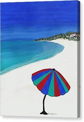 Beach Umbrella Dreaming Canvas Print by Barbara St Jean