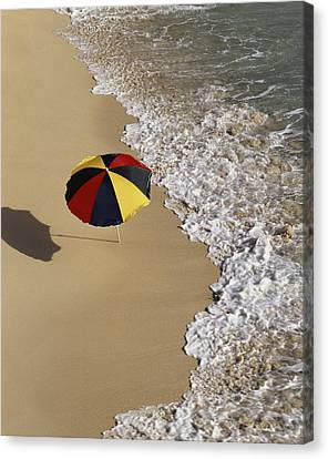 Beach-umbrella On Beach � Angelo Canvas Print by Tips Images