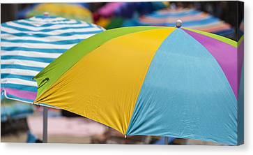 The Buffet Canvas Print - Beach Umbrella Rainbow 1 by Scott Campbell
